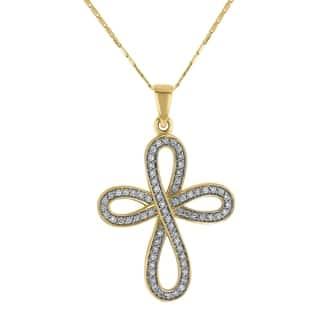 14k Yellow Gold 1/2ct Diamond Infinity Cross Pendant - White https://ak1.ostkcdn.com/images/products/18802608/P24870368.jpg?impolicy=medium
