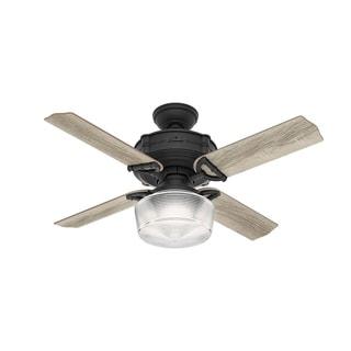 """Hunter Fan 44"""" Brunswick Nat'l Iron w / 4 Grey Oak / Aged Oak Rev Blds - Black"""