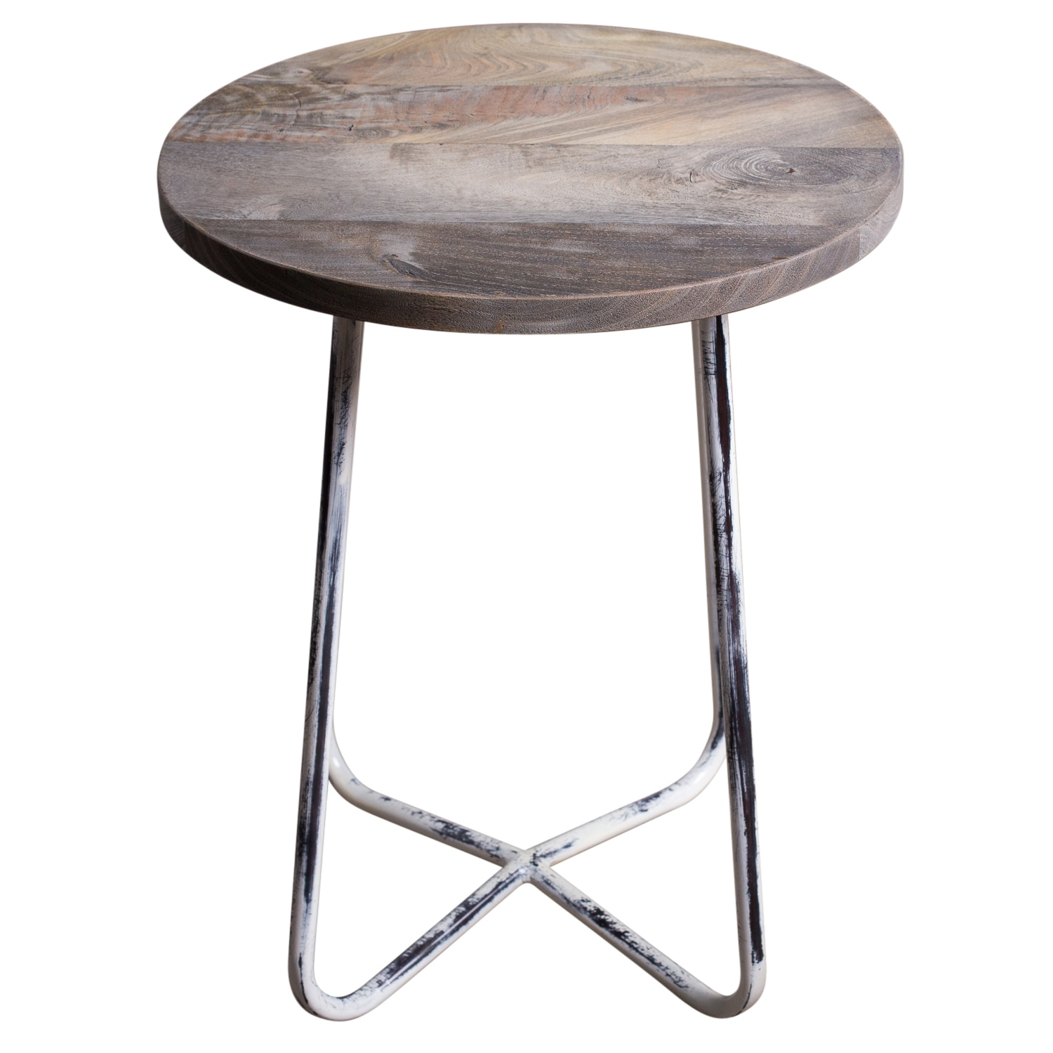 Side Table India.Handmade Distressed Wood And Metal Farm Side Table India