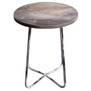 India Handmade Distressed Grey Wood/Metal Farm Side Table