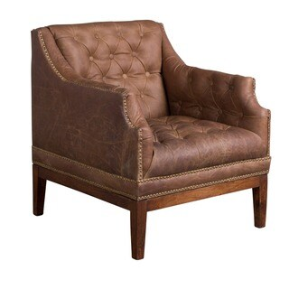 CG Sparks Kamille Leather Hand-tufted Club Chair (India)