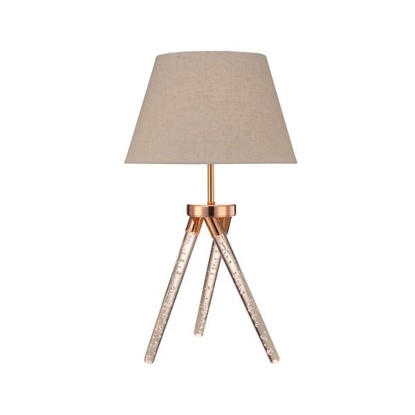 Acme Katana Rose Goldtone Acrylic Table Lamp with Light Brown Fabric Shade