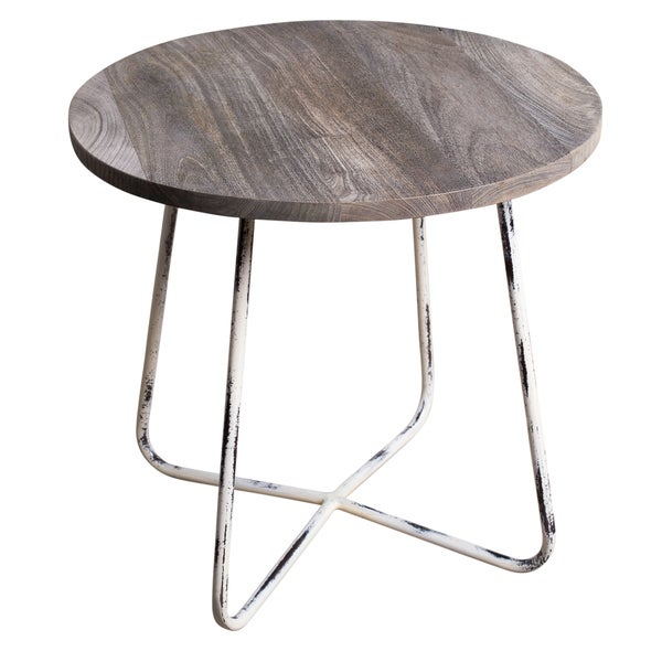 Light Walnut Wood Caleb Accent Table: Shop Handmade Farm Indian Distressed Steel Occasional