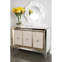 Statements by J Cassidy Mirrored Wood Linen Upholstered Buffet