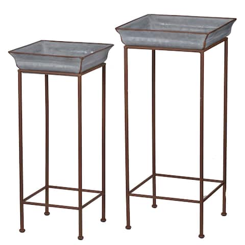 Shelburne Dove Gray Square Plant Stands (Set of 2)