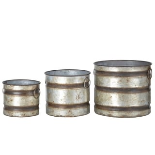 Shelburne Weathered Gray Canister Planters (Set of 3)