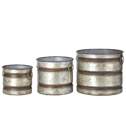 A&B Home Shelburne Weathered Gray Canister Planters (Set of 3)
