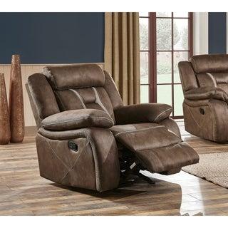 Global Furniture Brown Microfiber Modern Glider Recliner