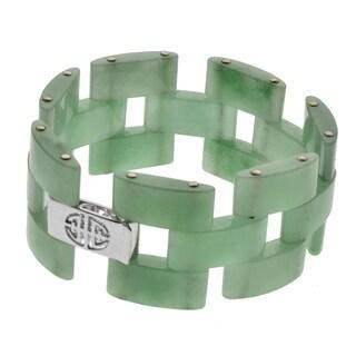 "Pangea Mines Green Jade Link 7.5"" Bracelet - White"
