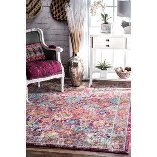"nuLOOM Distressed Vintage Faded Floral Pink Rug (6'7"" x 9')