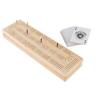 Wood Cribbage Board Game Set- Complete Set With Playing Cards, Pegs by Hey! Play!