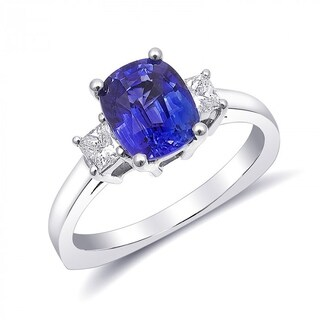 14K White Gold 2.5ct TGW Blue Sapphire and White Diamond One-of-a-Kind Ring""