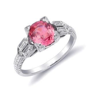 Platinum 1.77ct TGW Padparadscha Sapphire and White Diamond One-of-a-Kind Ring"