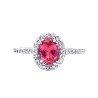 14K White Gold 1.2ct TGW Tanzanian Spinel and White Diamond One-of-a-Kind Ring""