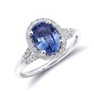 14K White Gold 1.99ct TGW Blue Sapphire and White Diamond One-of-a-Kind Ring""