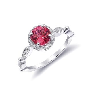 14K White Gold 1.35ct TGW Tanzanian Spinel and White Diamond One-of-a-Kind Ring""