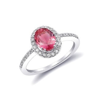 14K White Gold 1.26ct TGW Tanzanian Spinel and White Diamond One-of-a-Kind Ring""