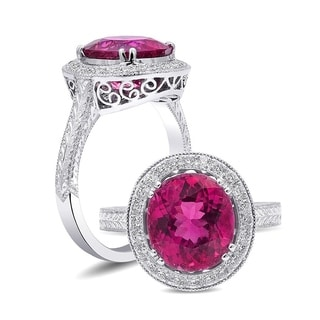 """18K White Gold 3.32ct TGW Rubellite Tourmaline and White Diamond One-of-a-Kind Ring"""""""