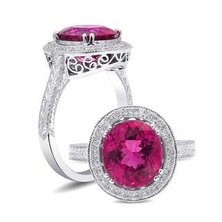 18K White Gold 3.32ct TGW Rubellite Tourmaline and White Diamond One-of-a-Kind Ring"
