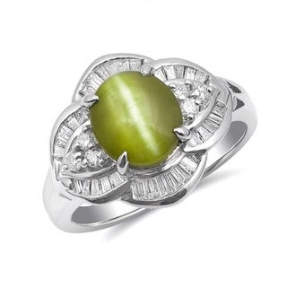 Platinum 3.47ct TGW Cat's Eye Chrysoberyl and White Diamond One-of-a-Kind Ring""