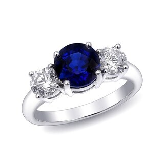 18K White Gold 3.04ct TGW Blue Sapphire and White Diamond One-of-a-Kind Ring""