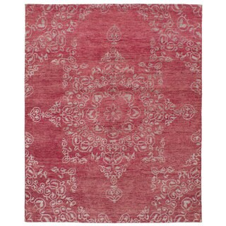 eCarpetGallery Hand-Knotted La Seda Red Wool, Art Silk Rug (7'11 x 9'10)