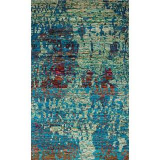eCarpetGallery Hand-Knotted Sari Silk Blue Sari Silk Rug (4'11 x 8'0)