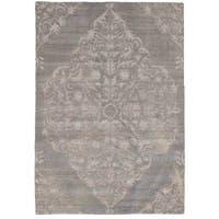 eCarpetGallery Hand-Knotted La Seda Grey  Wool,  Art Silk Rug (5'1 x 7'2)