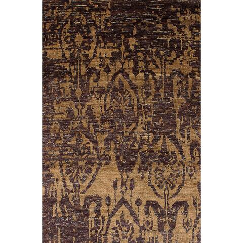 Hand-knotted Sari Silk Brown Silk Rug