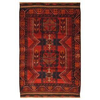 Handmade Herat Oriental Afghan Hand-knotted Tribal Balouchi Wool Rug (3'1 x 4'9)