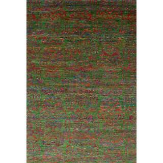 ECARPETGALLERY Hand-Knotted Sari Silk Green Sari Silk Rug (6'0 x 8'10)