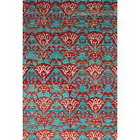 eCarpetGallery Hand-Knotted Sari Silk Red  Sari Silk Rug (5'2 x 7'6)