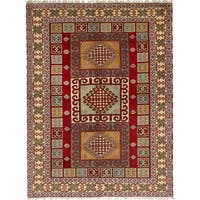eCarpetGallery Hand-Knotted Royal Kazak Red  Wool Rug (5'8 x 8'0)