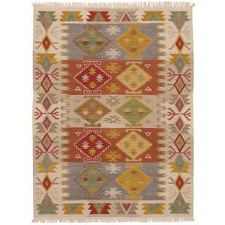 eCarpetGallery Flatweave Kashkoli Kilim Brown, Ivory Wool Kilim (4'10 x 6'3)