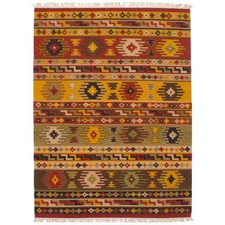 eCarpetGallery Flatweave Kashkoli Kilim Red Wool Kilim (4'9 x 6'5)