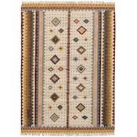 eCarpetGallery Flatweave Kashkoli Kilim Ivory Wool Kilim Rug - 5'5 x 7'7