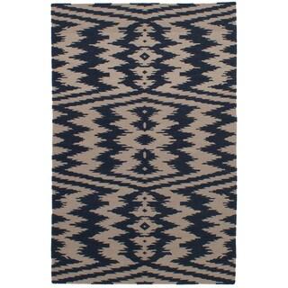 eCarpetGallery Flatweave Ankara Kilim Blue, Ivory Wool Kilim (5'1 x 8'0)