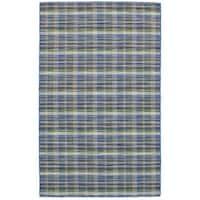 eCarpetGallery Flatweave Manhattan Blue Wool Kilim Rug - 5'0 x 8'1
