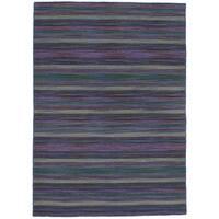 eCarpetGallery Flatweave Manhattan Blue, Purple Wool Kilim Rug