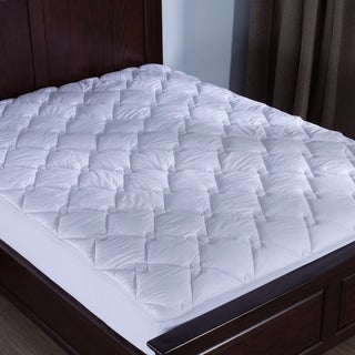 St. James Home 100% Cotton Top Down Alternative Diamond Quilted Mattress Pad - White