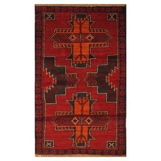 Handmade Herat Oriental Afghan Hand-knotted Tribal Balouchi Wool Rug (2'8 x 5')
