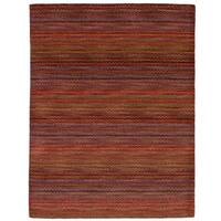 eCarpetGallery Hand-Knotted Luribaft Gabbeh Riz Red  Wool Rug (4'7 x 6'5)