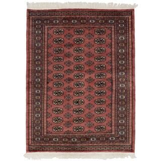 eCarpetGallery Hand-Knotted Finest Peshawar Bokhara Pink Wool Rug (4'4 x 5'9)