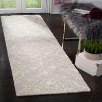 Safavieh Handmade Blossom Light Grey/ Ivory Wool Rug - 2'3 x 8'