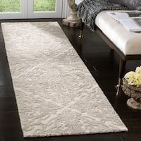 "Safavieh Handmade Blossom Ivory/ Grey Wool Rug - 2'3"" x 8'"