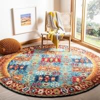 Safavieh Handmade Aspen Bohemian Blue/ Red Wool Rug - 2'3 x 7'