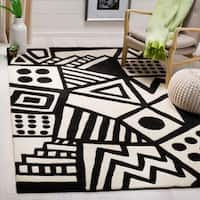 Safavieh Handmade Fifth Avenue Ivory/ Black Wool Rug - 8' x 10'