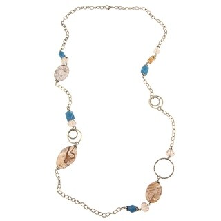 Pictured Jasper and Jade Necklace - Blue