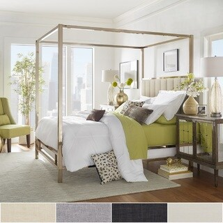 Solivita Champagne Gold Metal Canopy Bed with Vertical Channel Headboard by iNSPIRE Q Bold