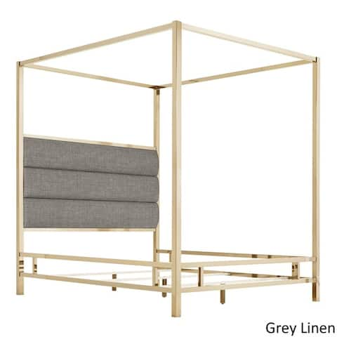 Solivita Champagne Gold Metal Canopy Bed with Horizontal Panel Headboard by iNSPIRE Q Bold